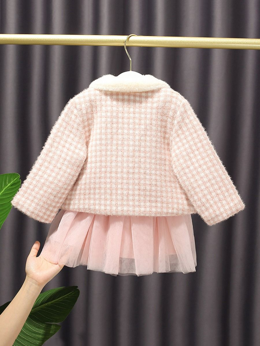 girl plaid patchwork tutu dress with coat 3 to 4 years