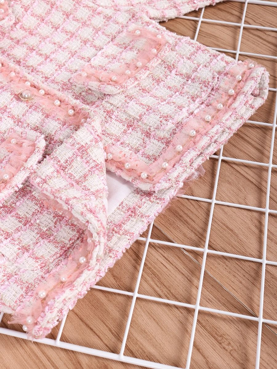 girls beaded checked jacket with pink colour for baby girl