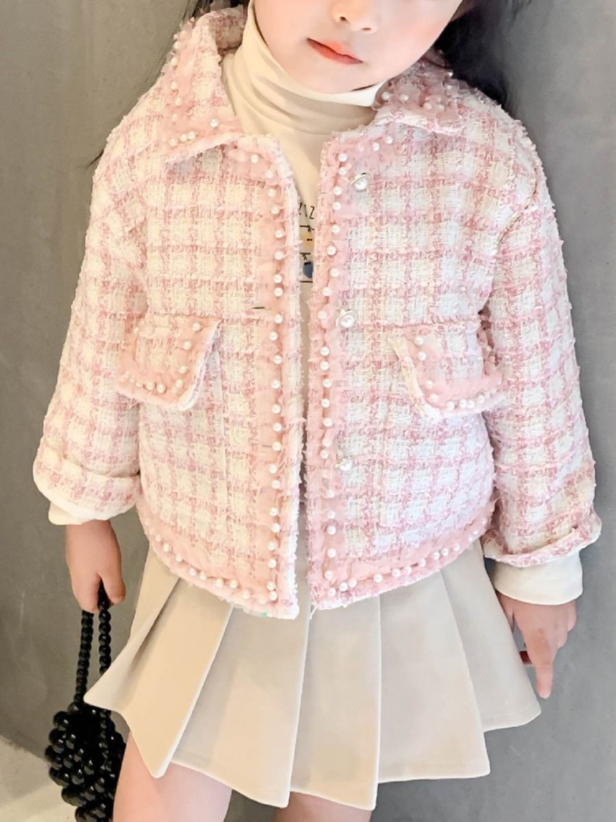 girls beaded checked jacket with pink colour