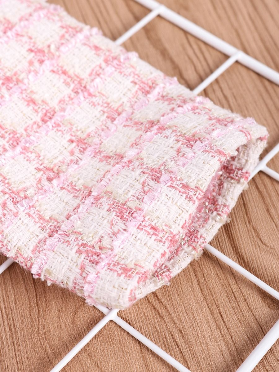 pink beaded checked jacket for girl