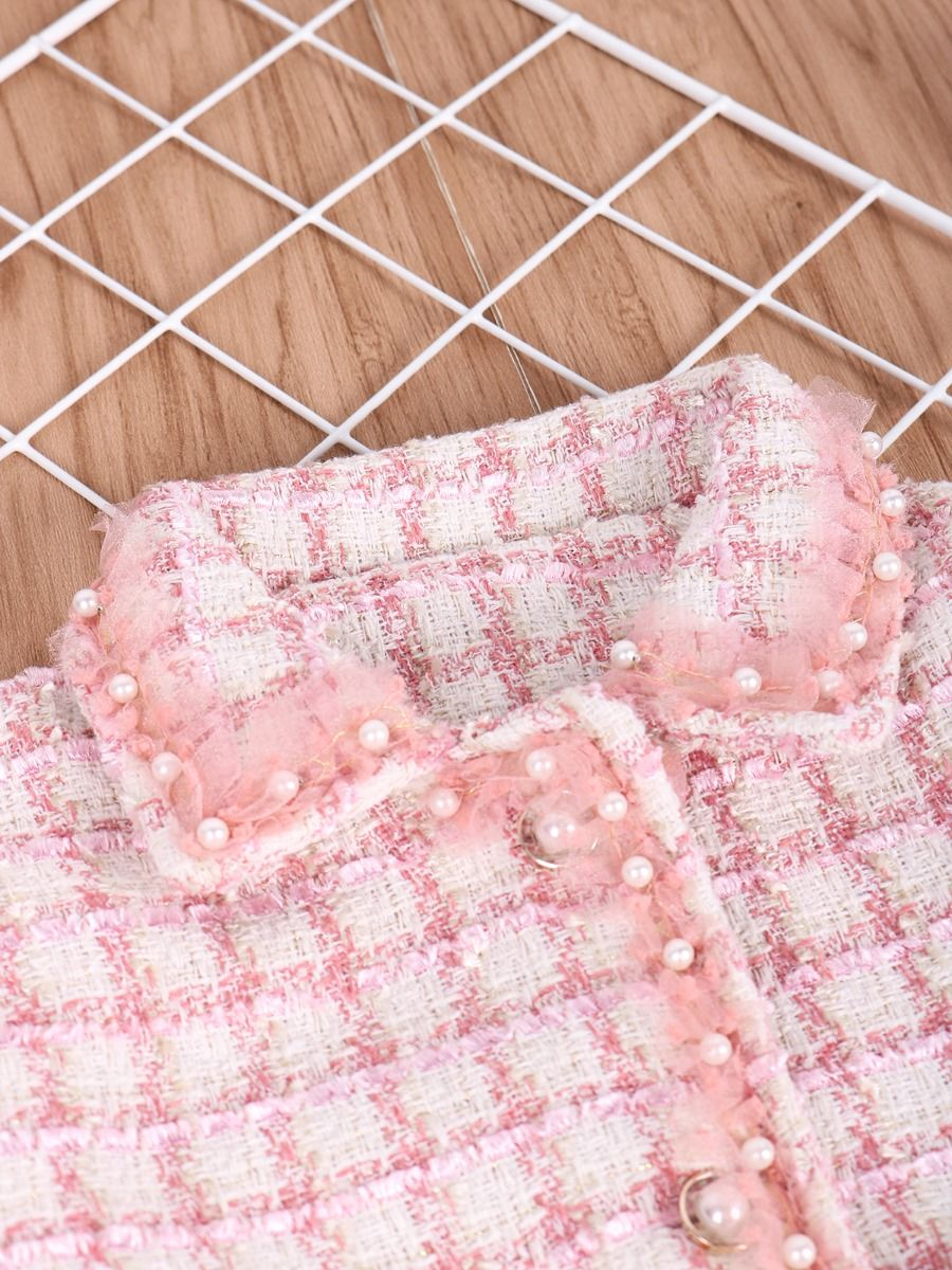 pink beaded checked jacket