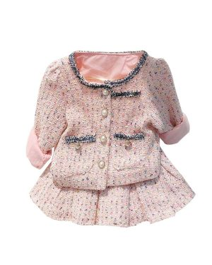 plaid outfit jacket with pleated skirt 5 to 6 years