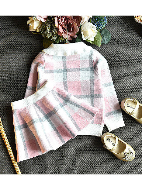 plaid winter outfit two piece set