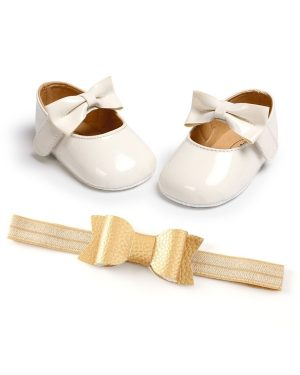 pu leather princess white shoes and matching headband for baby girl