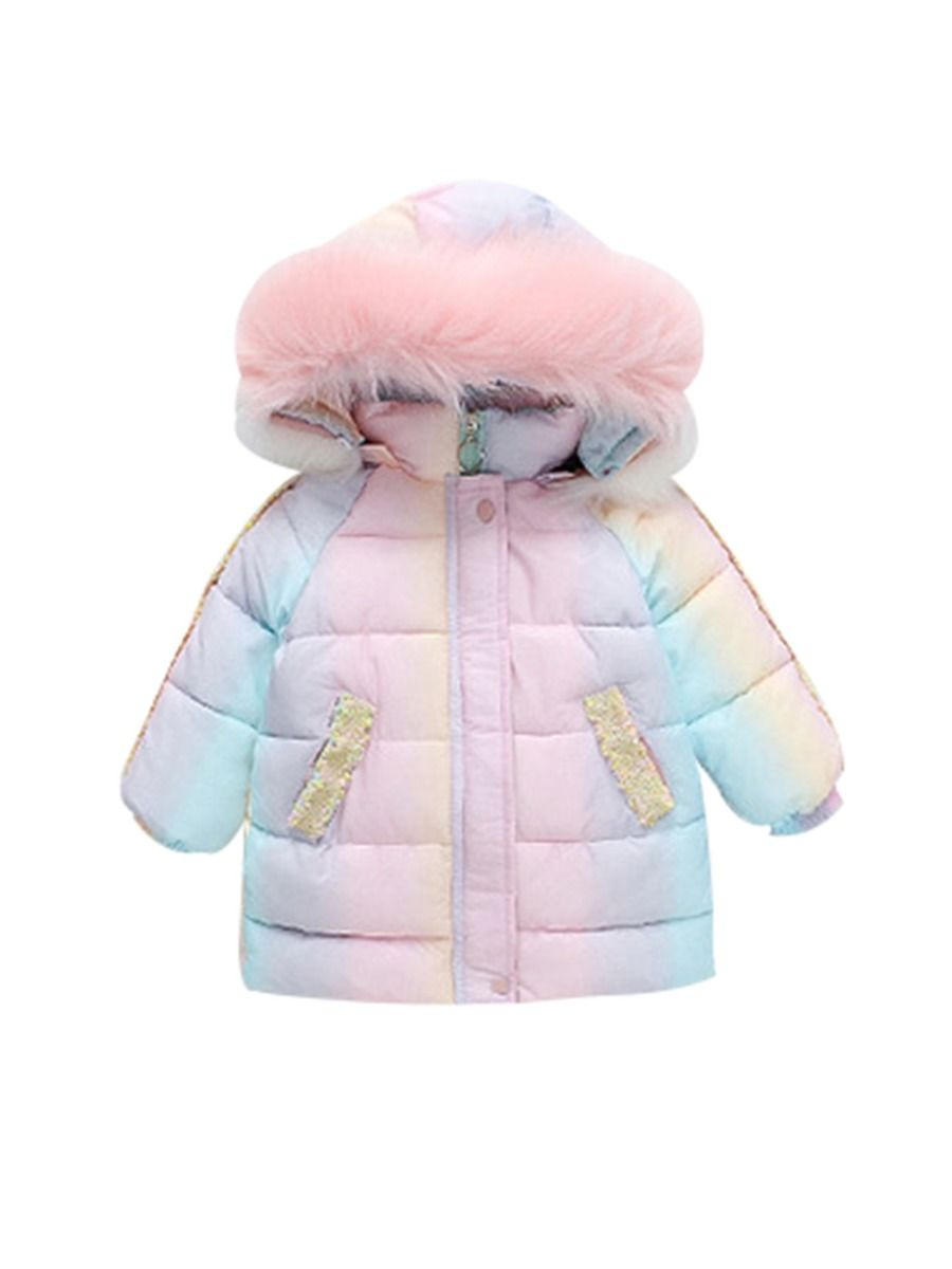 rainbow faux fur collar hooded overcoat for baby girl