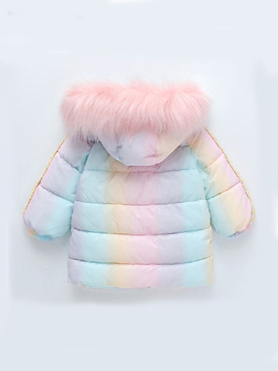 rainbow faux fur collar hooded overcoat for girls