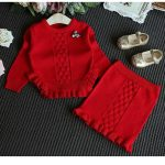 red black two piece knit set