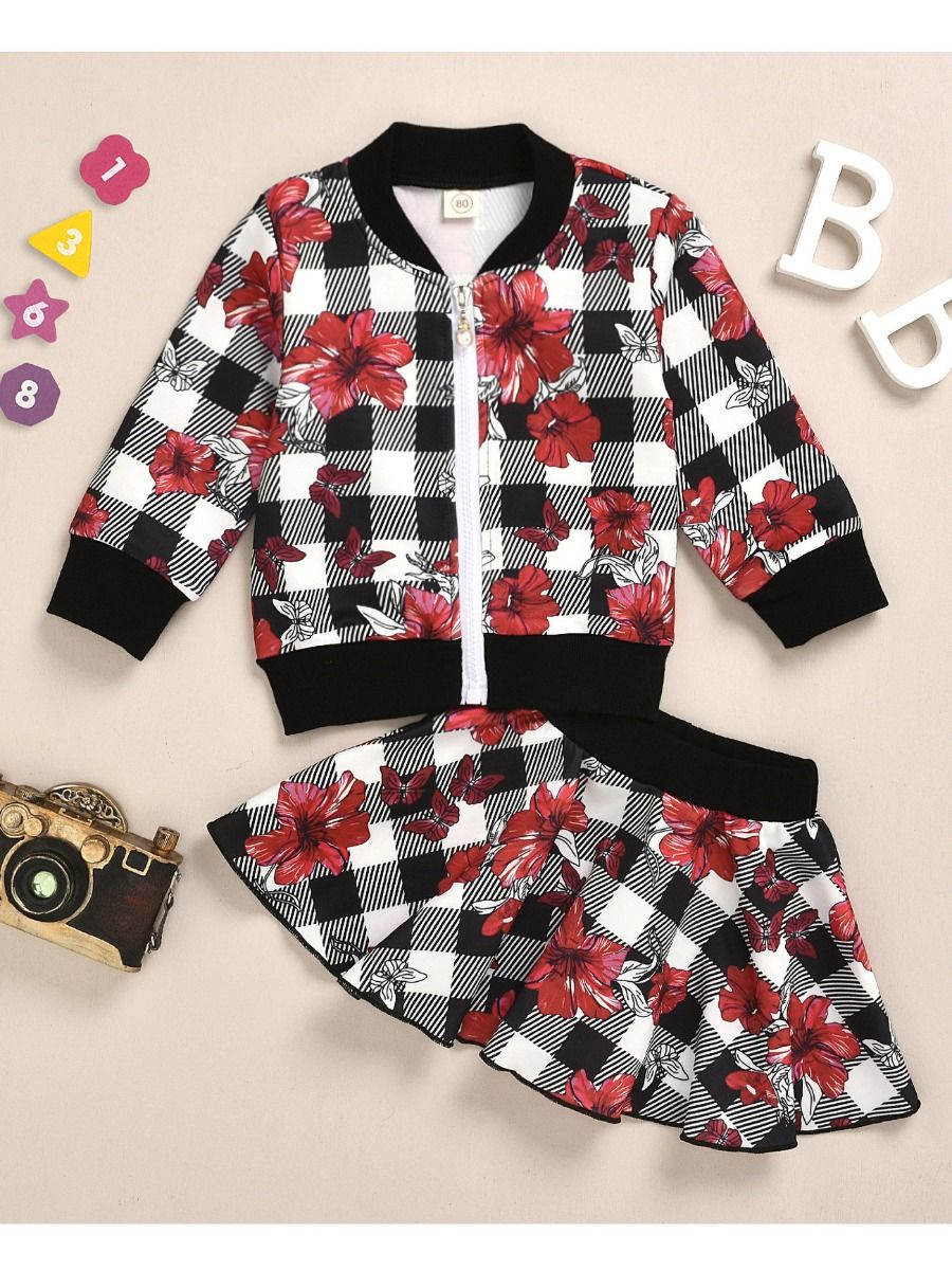 red flower jacket and skirt set for baby girl