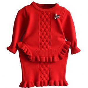 red two piece knit set