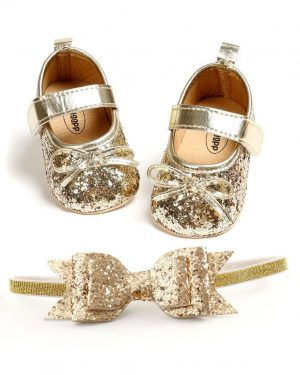 sequins bowknot gold shoes and matching headband for baby girl
