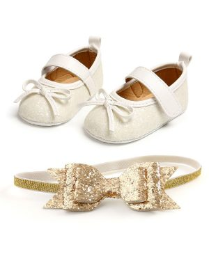sequins bowknot white shoes and matching headband for baby girl
