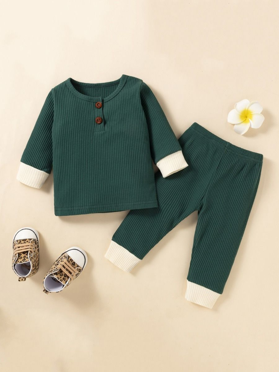 solid unisex ribbed green set