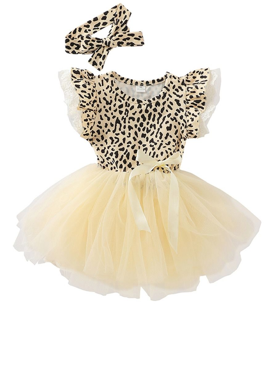 summer leopard dress with matching headband for girls 3 to 4 years