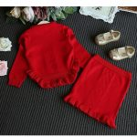 the red two piece knit set