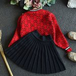 top two piece pleated skirt and sweater outfit