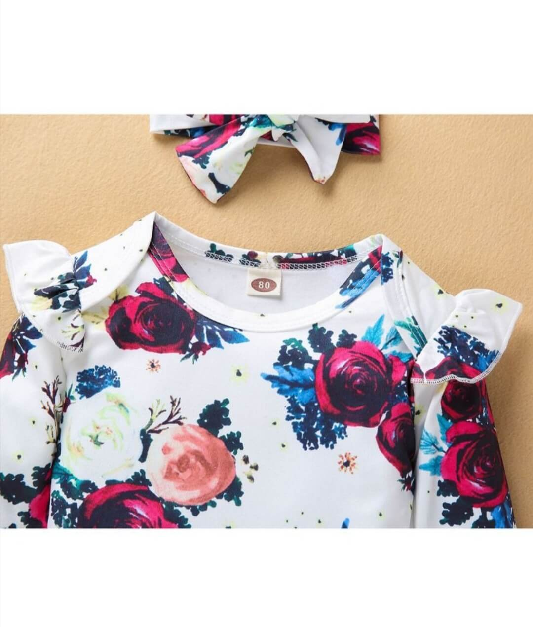 two piece floral bodysuit with matching headband