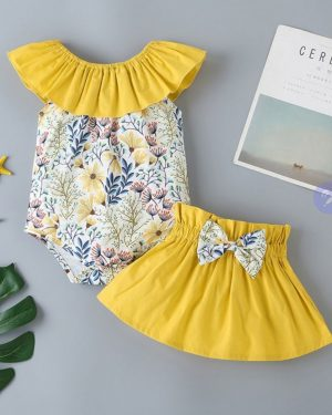 two piece flower printed set and bowknot skirt