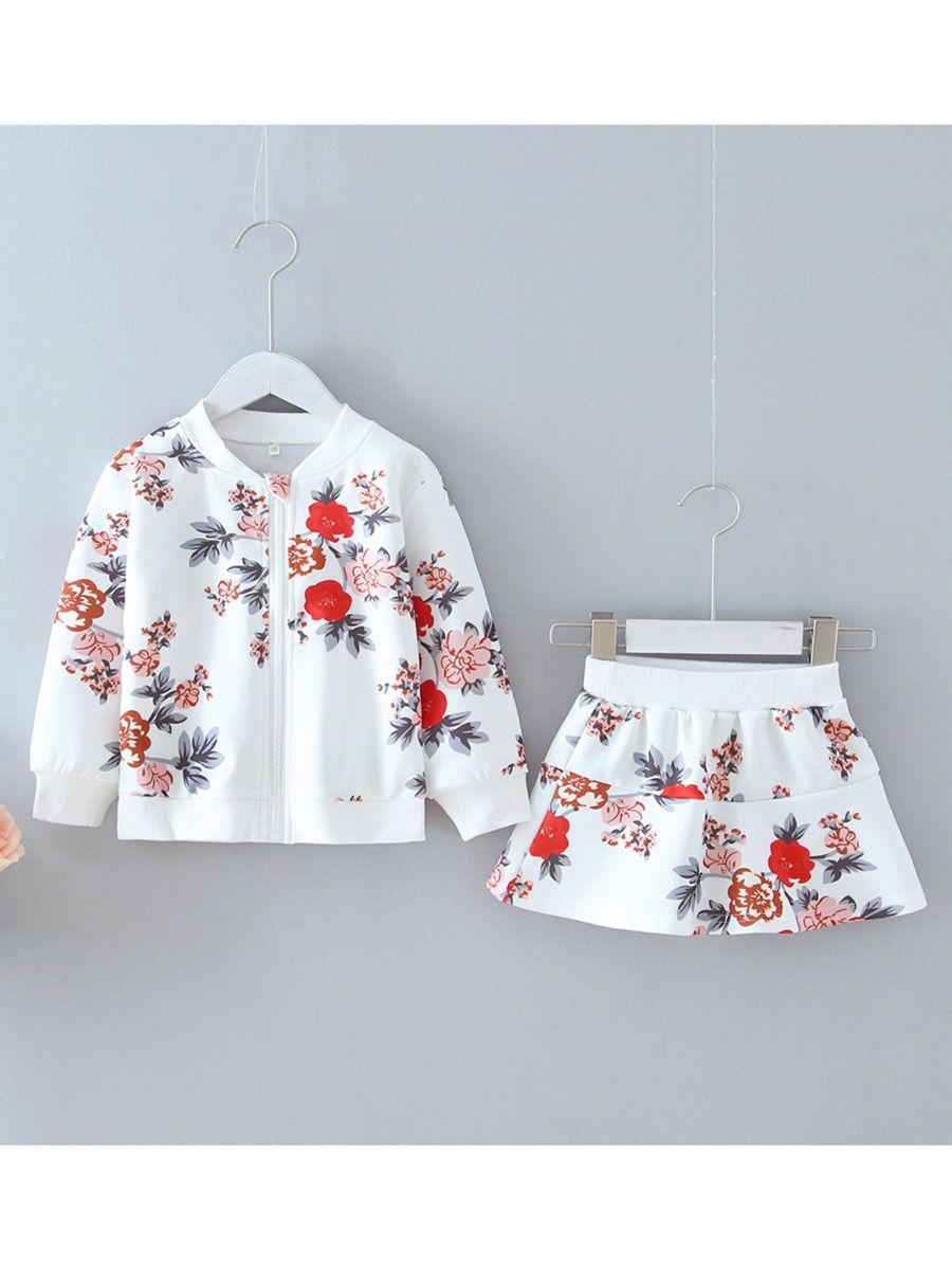 two piece flower set includes jacket and matching skirt