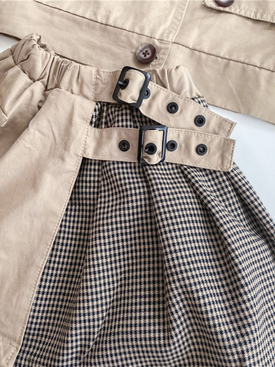 two piece girl plaid blocking set 12 to 18 months
