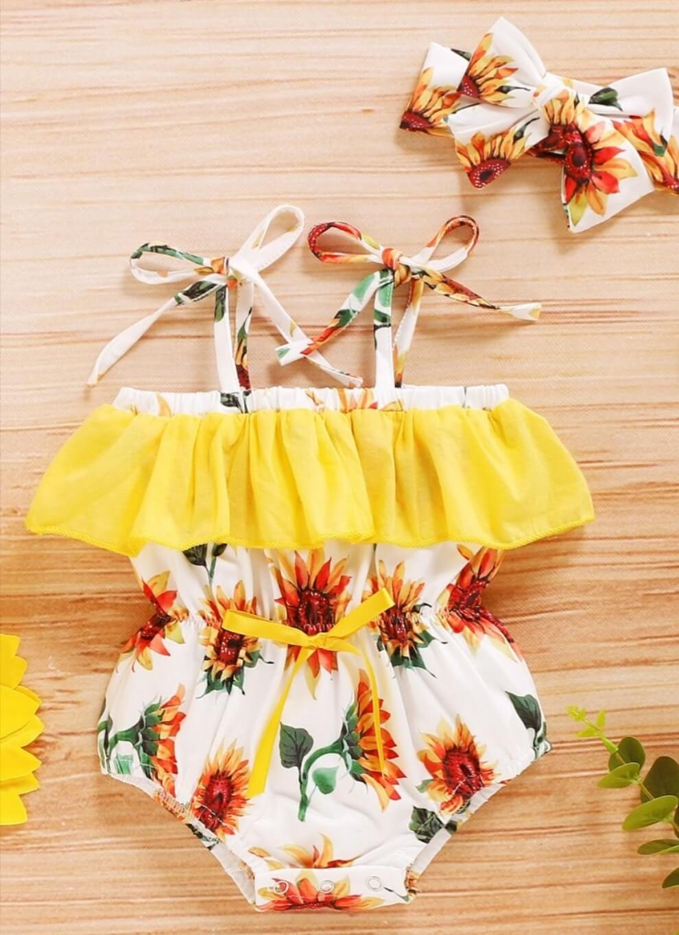 two piece infant flower print bodysuit with matching headband
