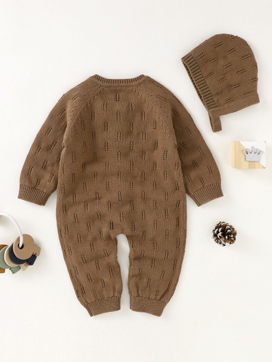 two piece knitted romper 3 to 6 months with coffee colour