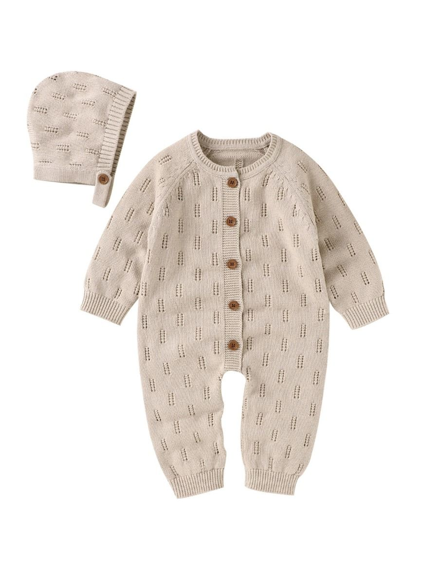 two piece knitted romper for baby boy
