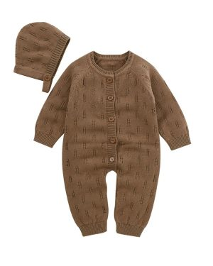 two piece knitted romper with coffee colour