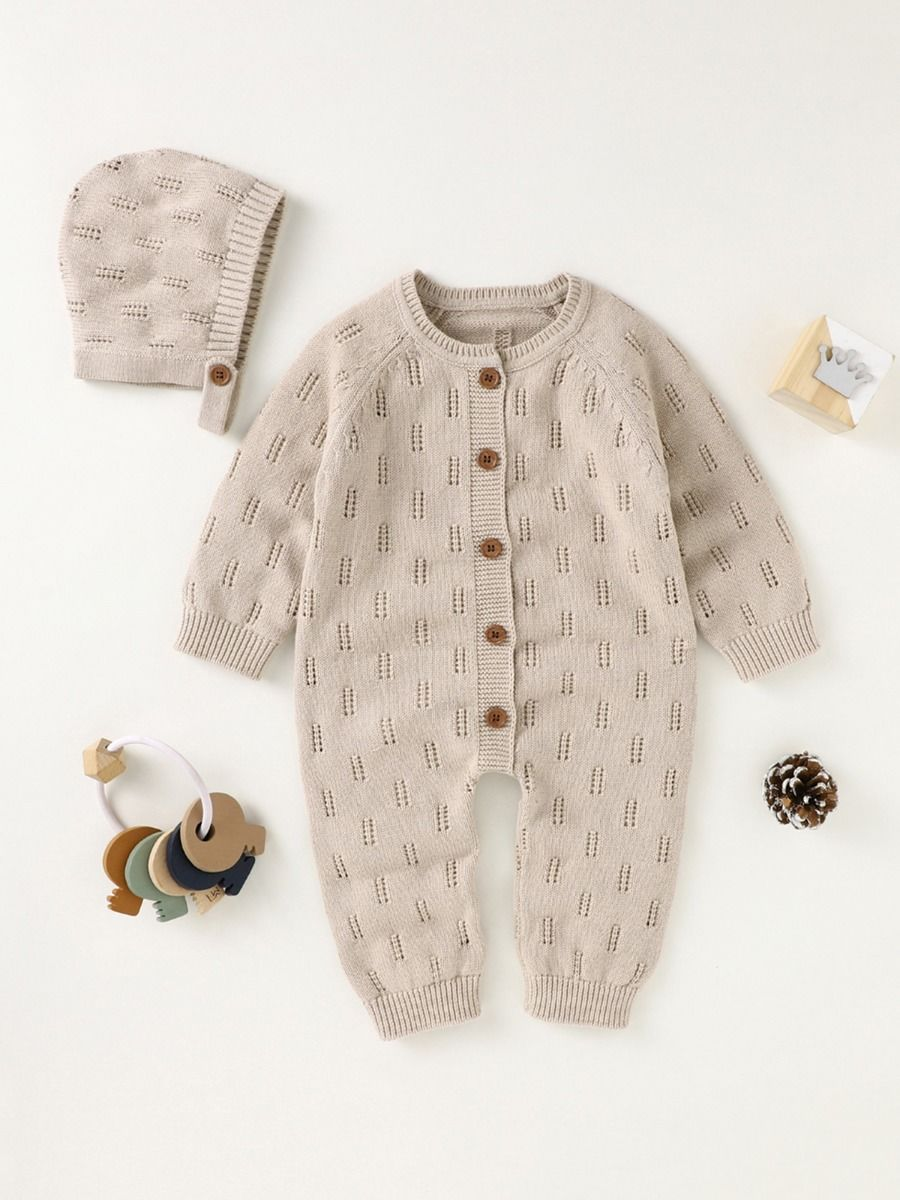 two piece knitted romper with cream colour