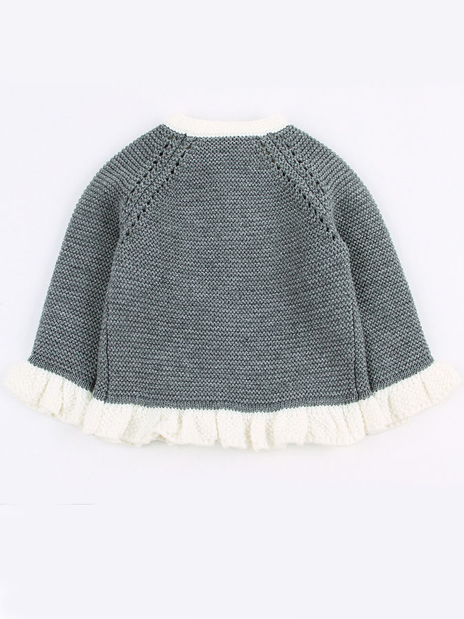 two piece spanish style knit grey colour outfit with acrylic material