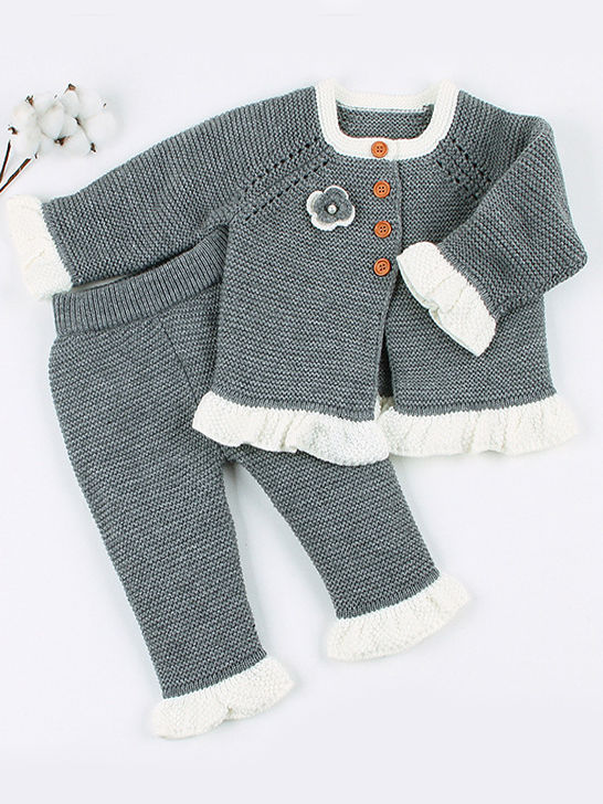 two piece spanish style knit grey colour outfit