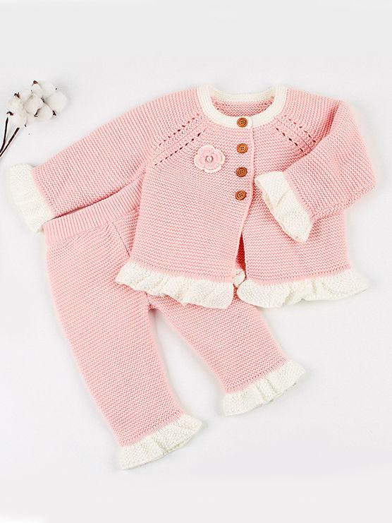 two piece spanish style knit pink outfit