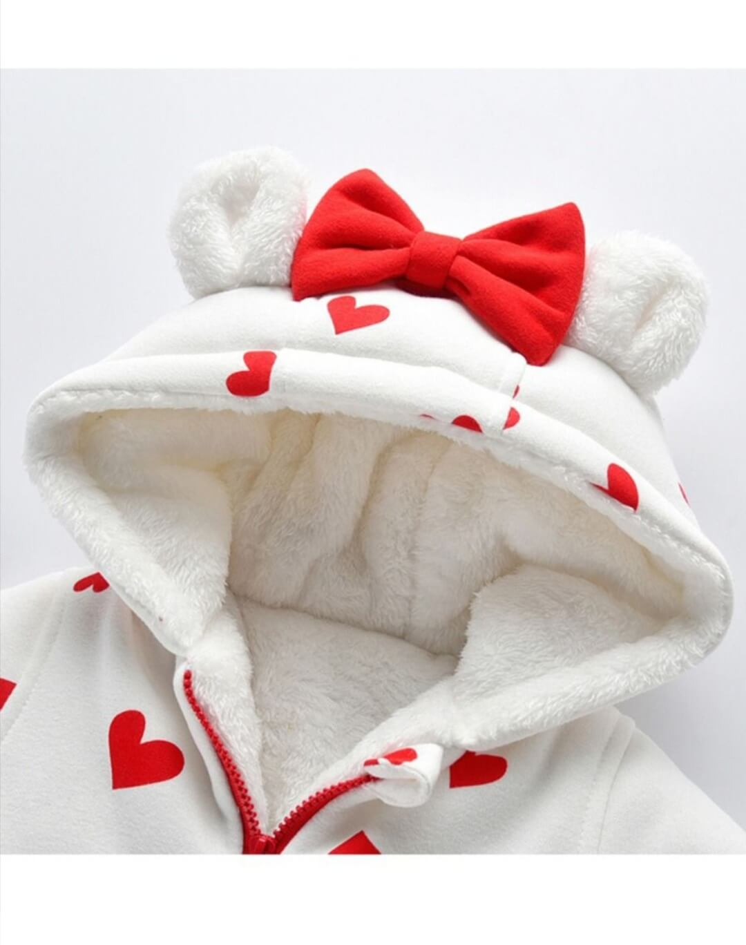 warm hearted hoodie romper for baby girl